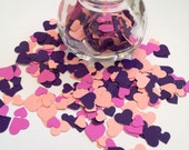 500 Hand-Punched Hearts with Mini-Jar - Spring Pink, Magenta & Purple - Scrapbooking, Confetti, Papermaking, Weddings
