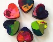 Recycled Rainbow Crayons - Jumbo Heart Crayons Set of 3 (THREE)