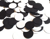 300 Hand Punched Circles - Black and White Dots - Scrapbooking Embellishments, Weddings, Confetti, Crafts