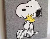 T-shirt Canvas Wall Art - Snoopy & Woodstock Peanuts - OOAK 8x8 Hanging Wooden Frame