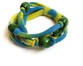 Upcycled T-shirt Bracelet - Knotted w/ Wooden Beads Blue Yellow & Green - Upcycled EcoFriendly Cotton Summer