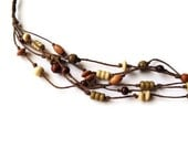 Natural Hemp Beaded Necklace - Multi-Strand Braided Necklace with Wooden Beads - EcoFriendly