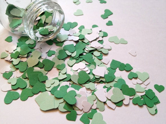 ON SALE 500 Hand-Punched Hearts w/ Mini-Jar - Green Hearts Spring/Summer - Scrapbooking, Confetti, Decor, Papermaking