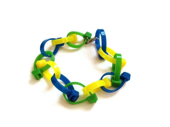 Zip Tie Bracelet with Clasp - Green Yellow & Blue - Upcycled/Recycled Plastic Zip Ties - Spring/Earth Day