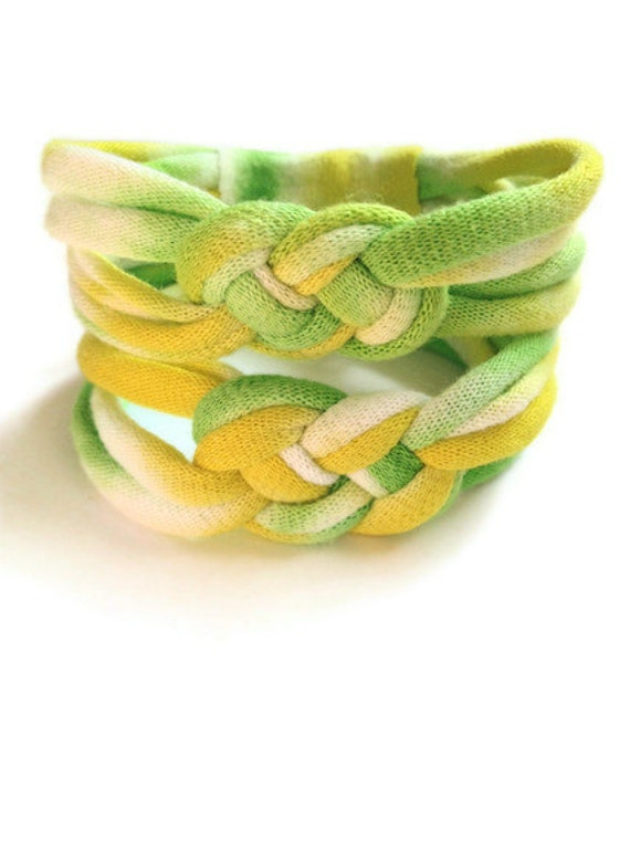 ON SALE Tie Dye T-shirt Bracelets - 2 Recycled/Upcycled Josephine Knot Bracelets - Spring Green & Yellow - EcoFriendly