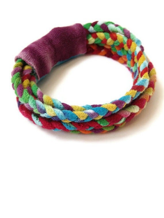 ON SALE Upcycled/Recycled Tshirt Bracelet - Tie Dye T-shirt Yarn - Braided Multi-Strand Cotton Eco-Friendly