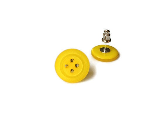 80s Inspired Yellow Button Earrings - Upcycled/Recycled Studded/Post Earrings - Spring Summer Mothers Day