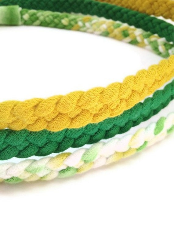 Upcycled Cotton Tshirt Headbands - 3 Pack Green, Yellow, Lemon-Lime - EcoFriendly Handmade Tshirt Yarn
