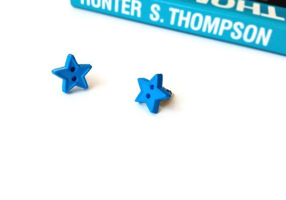 Blue Star Button Earrings - Upcycled Buttons Post/Studded Earrings - Spring Summer Unique Gifts