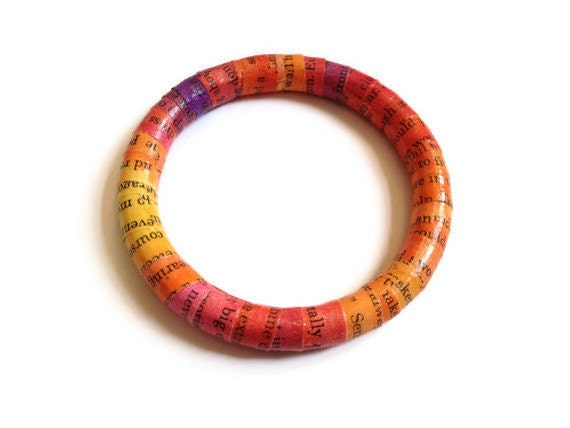 Recycled Paper Bracelet Hand-Painted - Chuck Palahniuk Invisible Monsters - Red Orange Yellow - Ecofriendly
