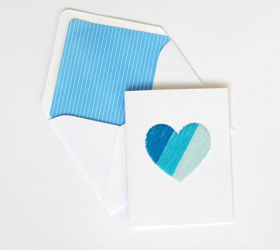 Embroidered Hand stitched blue ombre heart greeting card