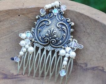 Art Nouveau Collage Hair Comb Dripping with Pearls OOAK - Great Gatsby - Wedding, Bridal, Bridesmaid Statement Piece