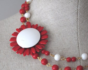 Rockabilly Vintage Enamel Flower Asymmetrical Necklace Red and White OOAK - Wedding, Bridal, Bridesmaid Statement Piece
