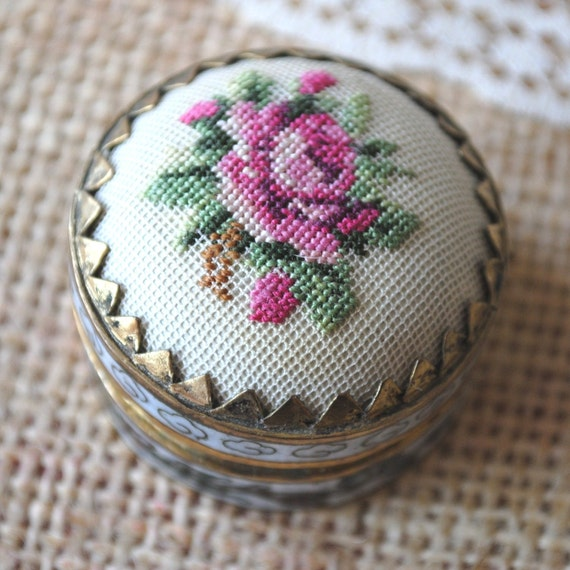 Reserved for ainhoauv Vintage Petit Point Rose Pill Box Compact