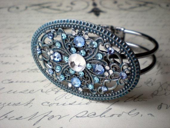 Cuff Bracelet: Blue and White - Unique Jewelry - Boho Jewelry - Hinged Bracelet - Hippie Jewelry