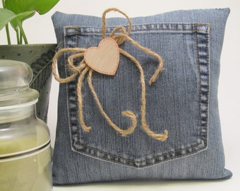 Denim Ring Bearer Pillow - Personalized For Your Wedding Day