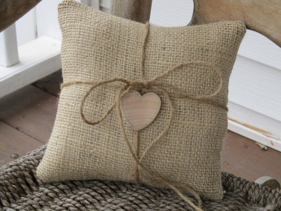 Rustic Burlap Ring Bearer Pillows - Personalized For Your Wedding Day - Set of 2