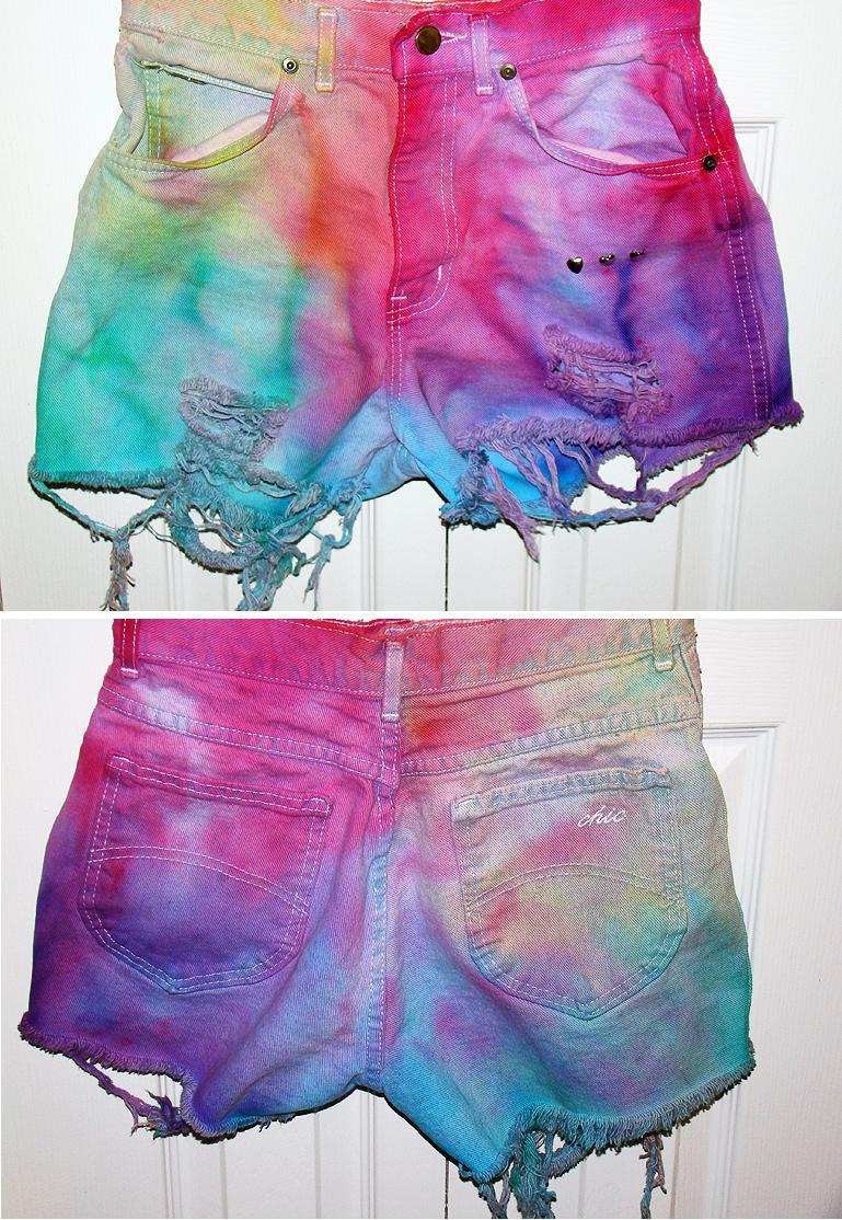 colorful tie dye high waisted shorts