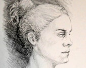 "Life Drawing Portrait of a Young Woman in Profile 14X11""  No.45"