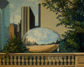 Original Painting 24x32 in. The Bean Chicago cityscape city landscape