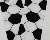Baby Leg Warmers/Crawlers - Black and White Soccer Print
