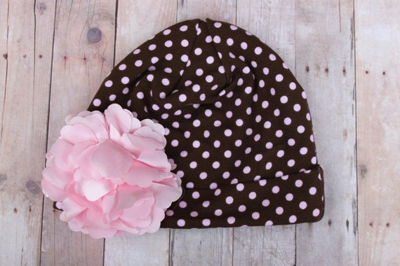 Brown and Light Pink Polka Dot Soft and LIghtweight Cotton Beanie for Girls Available in Sizes Newborn thru Adult
