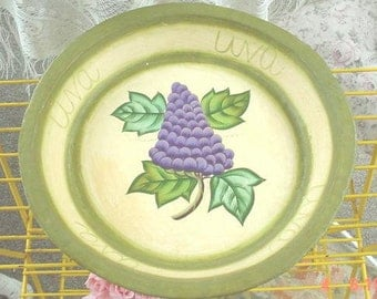 Paper Mache Platter Sage Green Grape Motif