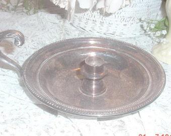 Vintage Silver Bedside Candleholder