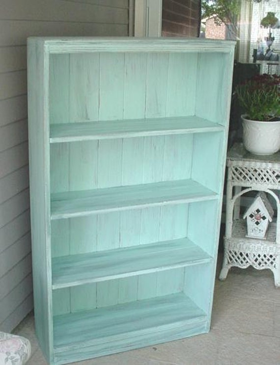 Vintage Bookcase Shabby Chic French Blue Aqua No 2