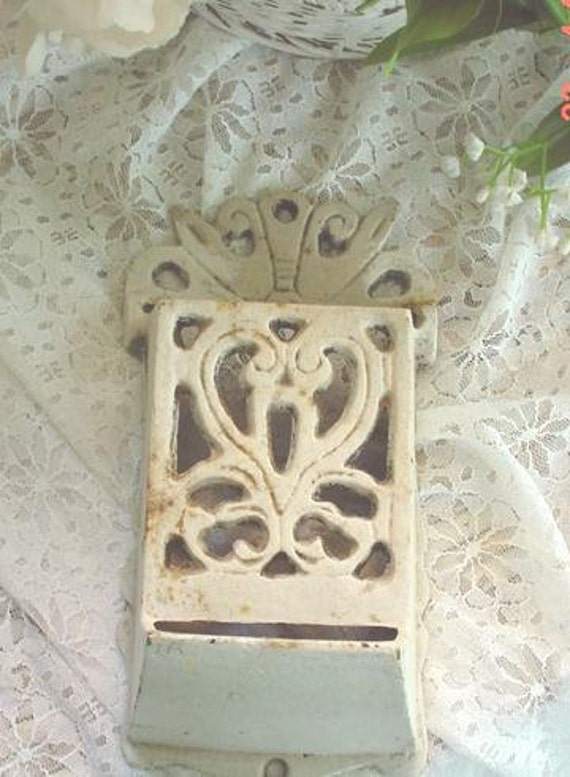Reserved for Seymour -Matchbox Holder Cast Iron Cottage Chic Vintage Shabby Chic