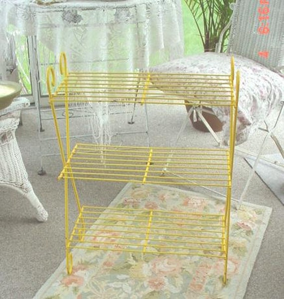 Metal Plant Stand 3 level intage Yellow Peely P:aint