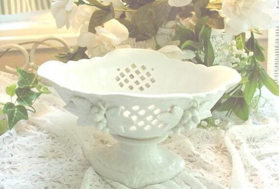 Vintage Pedestal Compote Vase Bowl Pottery Ceramic w Lattice Design
