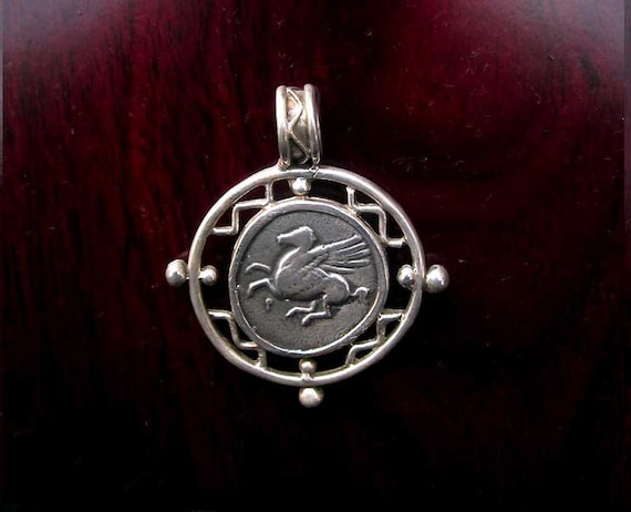 Sterling Silver Pegasus and Athena Pendant