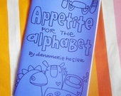 """COLORING BOOK about the Alphabet and word play for kids """"Appetite for the Alphabet"""" featuring the Knitimals by might"""
