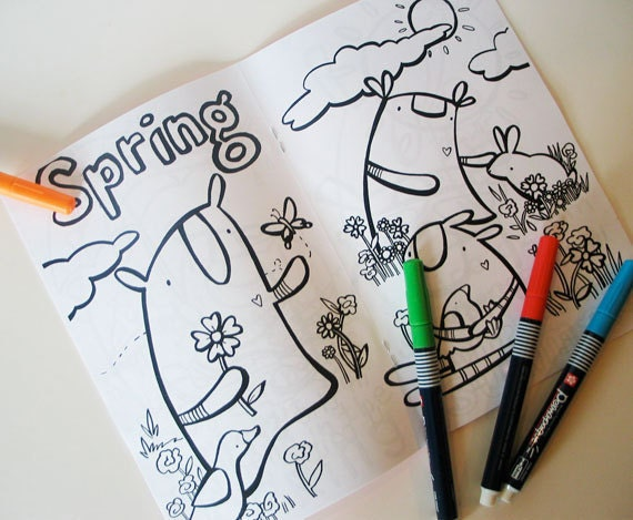 """COLORING BOOK about the Seasons and story telling for kids """"Some Sort of Season"""" featuring the Knitimals by might"""