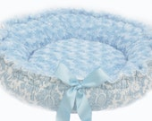 Spring Special Minky Couture Doggie Bed Blue Damask Small Size