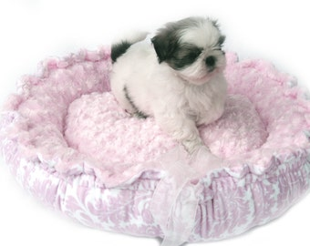 Pink Damask Print Couture Minky Pet Bed - Large