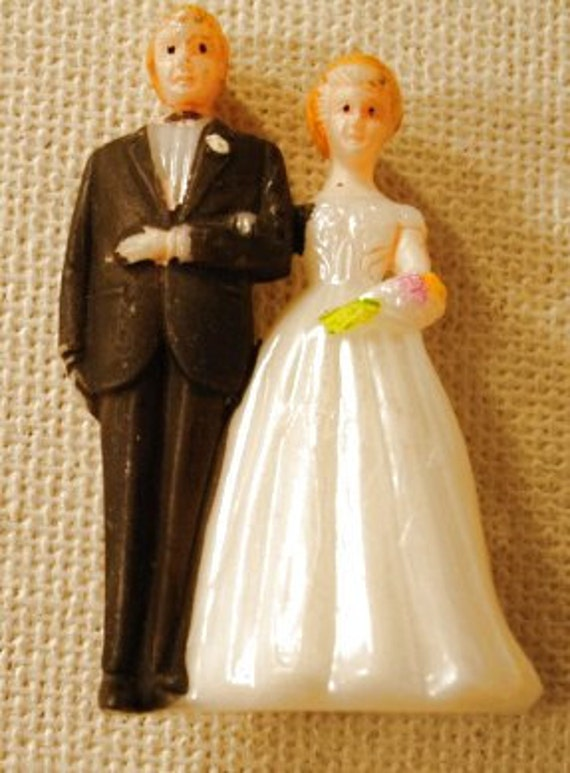 Miniature Wedding Cake Topper Bride and Groom 1950s