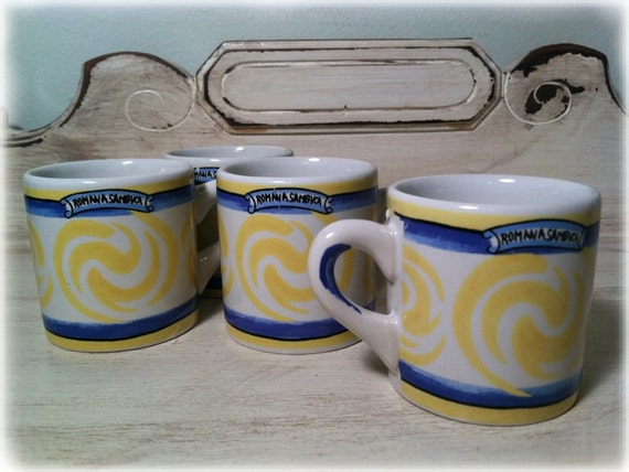 Romana Sambuca Mugs, Set of 4, w/Hand Poured Candles