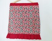 Red and Grey Dot Half Apron