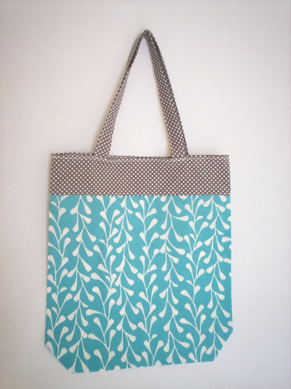 Market Tote Bag - Turquoise and Grey Cotton
