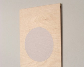 circle screenprint on plywood, nude