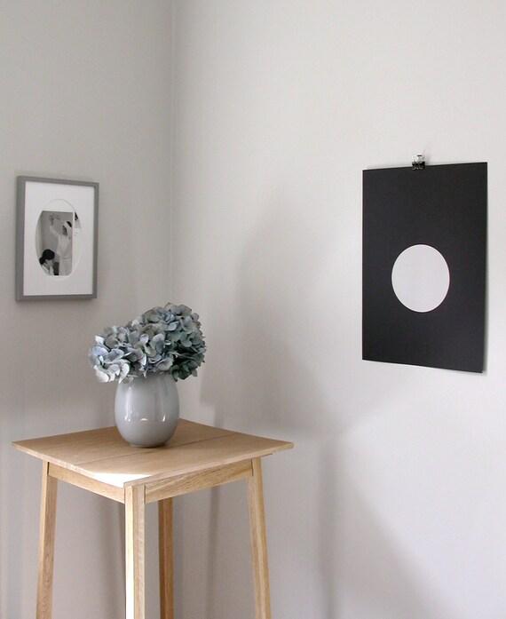 circle screenprint on paper, nude on black