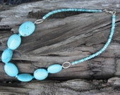 Turquoise Flat Stone Necklace and Czeh Glass Sterling Silver clasp and connector links circle by Jemoko