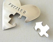 Hand Stamped Heart Brooch in Sterling Silver- Puzzled