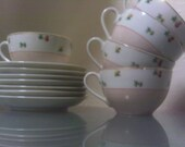 Made in Occupied Japan Teacups and Saucers Hurricane Pattern (7 Saucers 5 Cups)