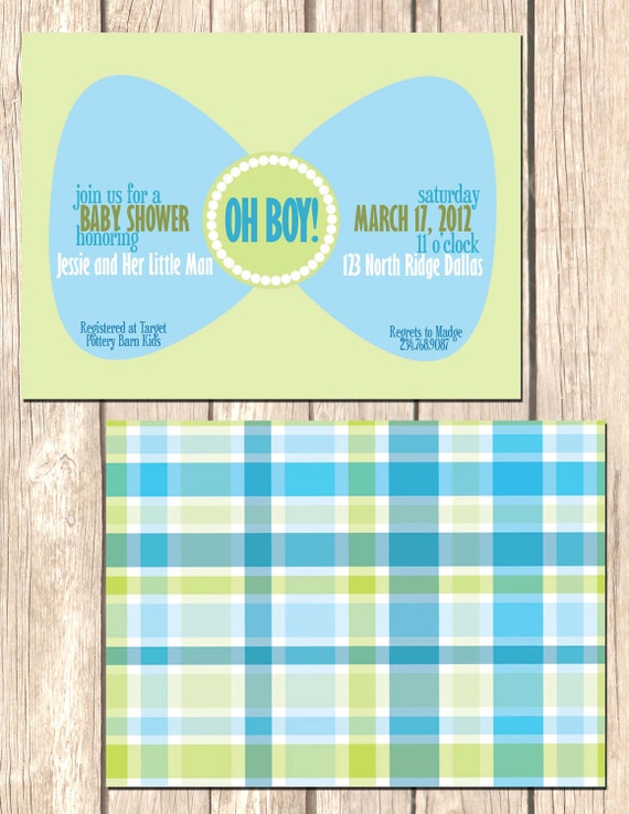 man bow tie shower invitation boy baby shower invite custom colors
