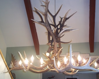 Large Elk Antler Chandelier, 6'x4', 18 lights, Heavy Antlers, Quality, Quality, Quality