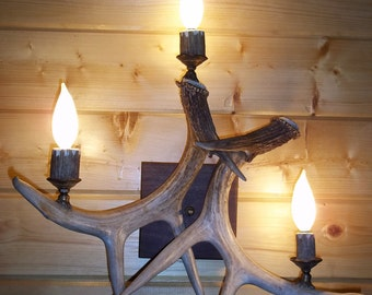 Antler Wall Sconce, Three light, Black Walnut back plate, Antique brass, Quality, Great for cabin or Log Home