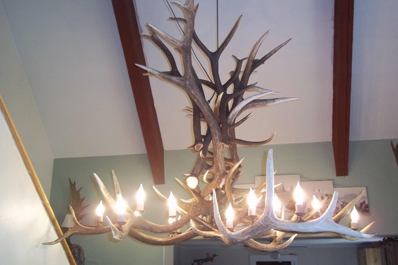large elk antler chandelier 6 39 x4 39 18 lights heavy. Black Bedroom Furniture Sets. Home Design Ideas